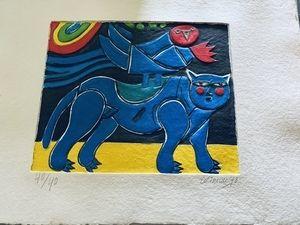 カーボランダム Corneille - Blauer Vogel mit Katze