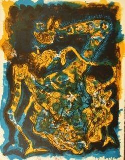 リトグラフ Nieto - Blaugelbe Giraffe