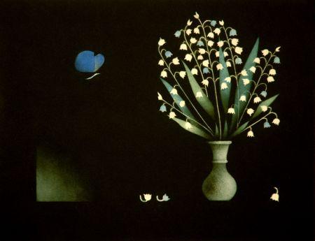 メゾチント彫法 Avati - Bleu, le pappilon