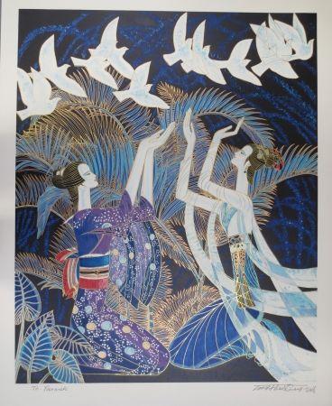リトグラフ Ting - Blue birds