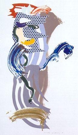 シルクスクリーン Lichtenstein - Blue Face, Brushstoke Figure Series