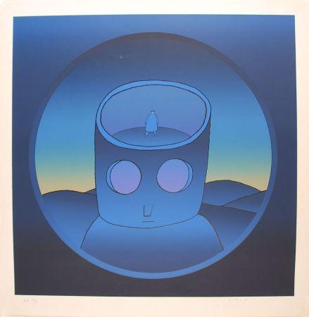 シルクスクリーン Folon - Blue Man - L'Homme Bleu