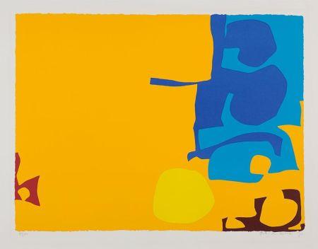 シルクスクリーン Heron - Blues Dovetailed in Yellow