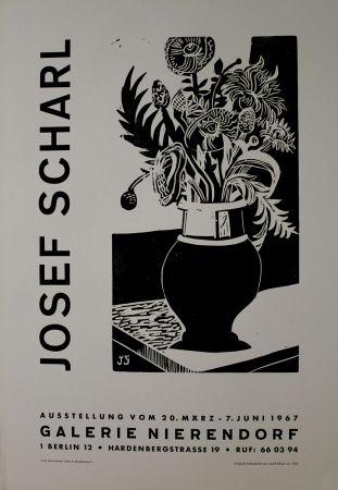 木版 Scharl - Blumen in hoher Vase