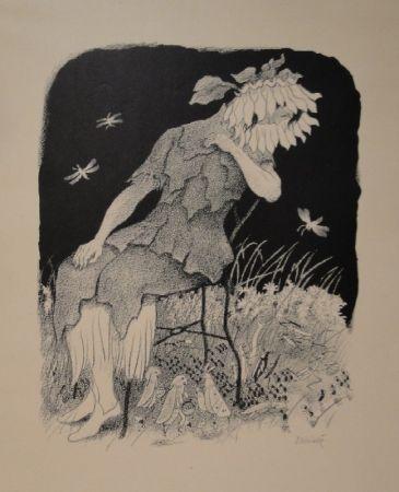 リトグラフ Kreidolf - Blumenmädchen auf Stuhl sitzend, nach links unten zu Heuschrecken, Ameisen und Faltern blickend.