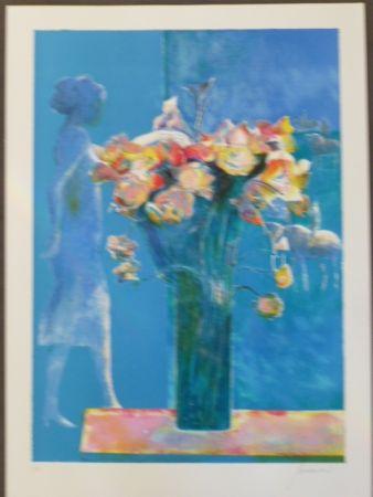 リトグラフ Guiramand - Bouquet de fleurs et femme de profil