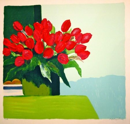 リトグラフ Muhl - Bouquet de tulipes rouges