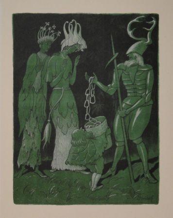 リトグラフ Kreidolf - Brautwerbung. Käfer-Ritter, von einem Zwerg begleitet, wirbt mit einer Kette um das Akelei- und Rapunzel-Fräulein.