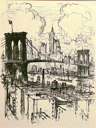 リトグラフ Pennell - Brooklyn Bridge