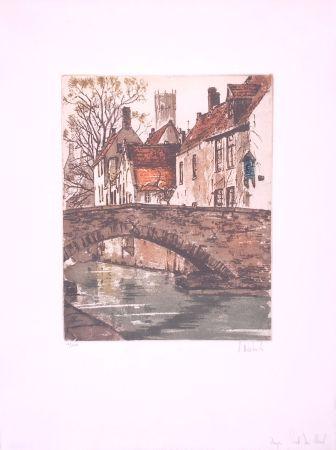 エッチング Hebbelinck - Bruges : Pont du cheval
