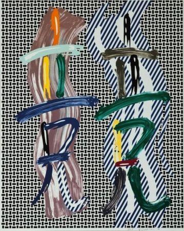 リトグラフ Lichtenstein - Brushstroke Contest, from Brushstroke Figure Series