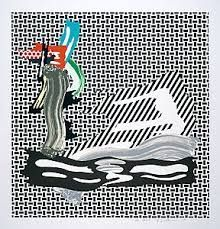 リトグラフ Lichtenstein - Brushstroke on Canvas