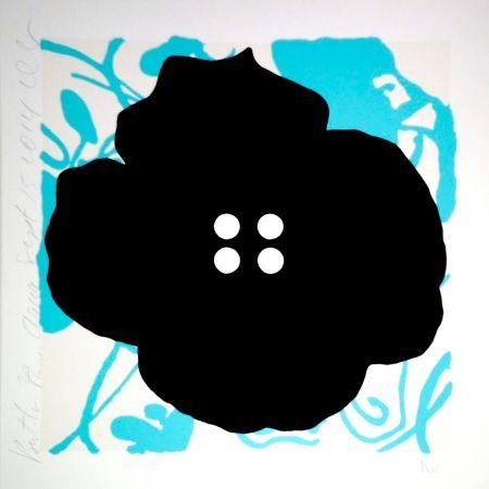 シルクスクリーン Sultan - Button Flower Aqua