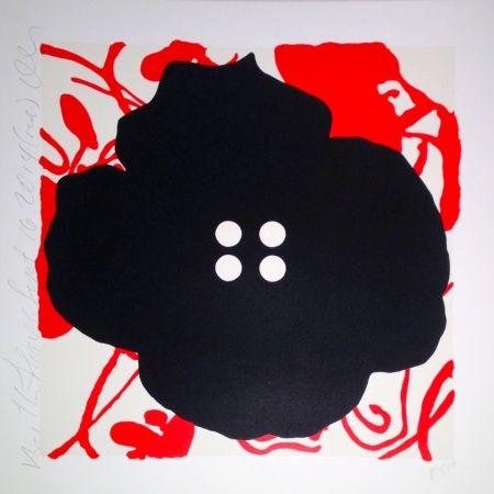 シルクスクリーン Sultan - Button Flower Red