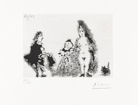 アクチアント Picasso - CÉLESTINE ET FILLE AVEC UN CHAT ET UN JEUNE CLIENT (24 mai 1968).