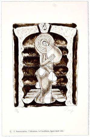 リトグラフ Nørgaard - C. L'Annonciation, l'Adoration, la Crucifixion, figure mort-vive