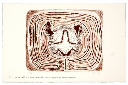 リトグラフ Nørgaard - C. L'homme assoiffé et sa femme, la moitié du monde, jusqu'à ce que la mort nous sépare.