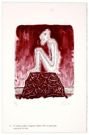 リトグラフ Nørgaard - C. L'homme civilisé, l'angoisse sublime, libre d'esprit mais ayant peur de vivre