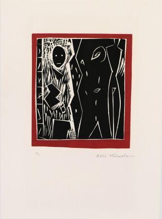 リノリウム彫版 Kuroda - Cadre rouge