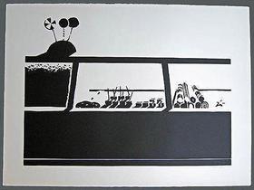 リノリウム彫版 Thiebaud - Candy Counter-State 1