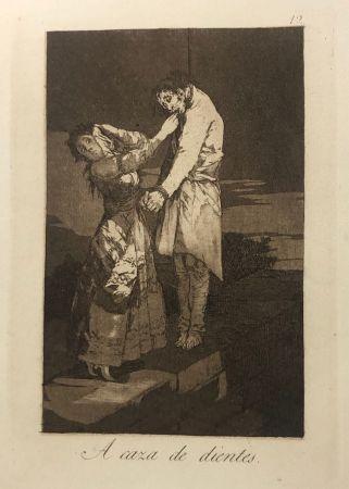 エッチング Goya - Capricho 12 . A caza de los dientes