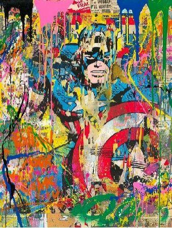 シルクスクリーン Mr Brainwash - Captain America, 2020