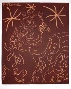 リノリウム彫版 Picasso - Carnaval 1967