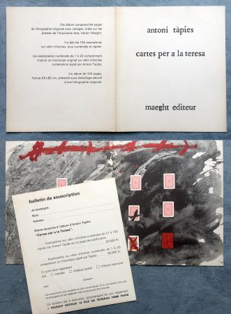 オフセット Tàpies - CARTES PER A LA TERESA : Carton de présentation de l'ouvrage illustré de lithographies et collages (1976).
