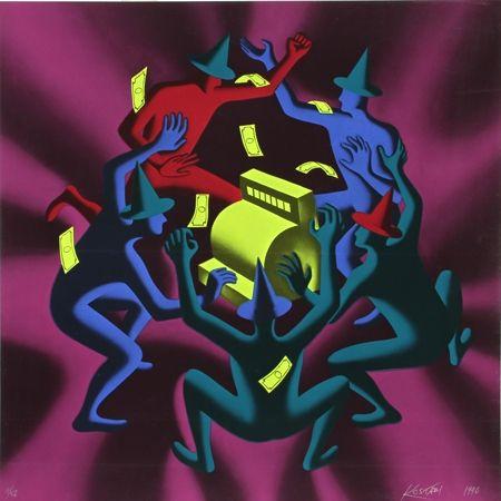 シルクスクリーン Kostabi - Cash Dance