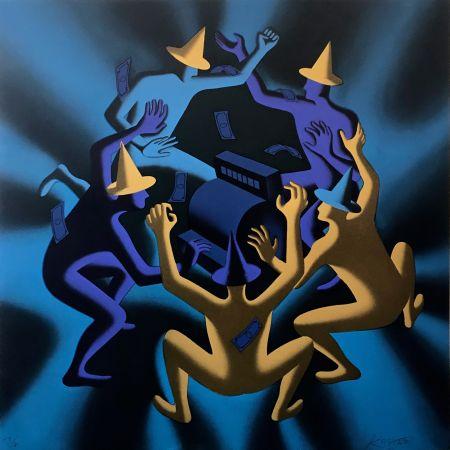 シルクスクリーン Kostabi - CASH DANCE (BLUE)