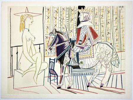 リトグラフ Picasso - Cavalier costumé et modèle 2 (La Comédie Humaine - Verve 29-30. 1954).