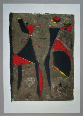 リトグラフ Marini - Cavalier noir et rouge sur fond brun