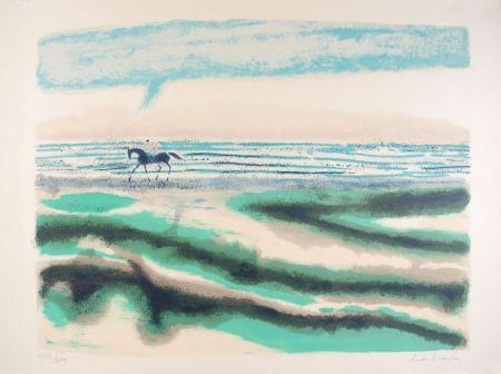 リトグラフ Brasilier - Cavalier sur la plage