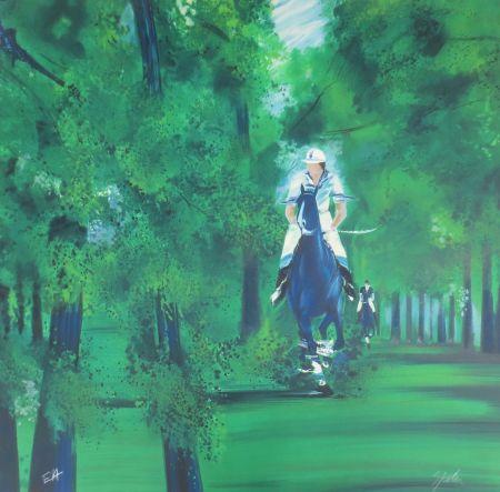 リトグラフ Spahn - Cavaliers dans la forêt
