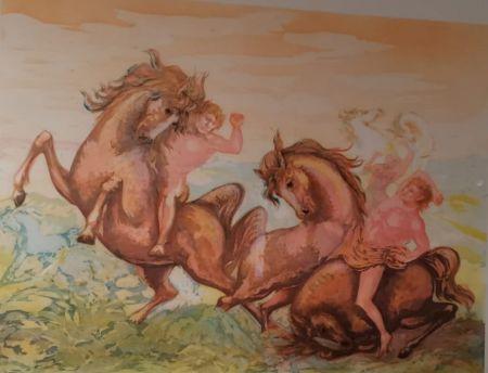 リトグラフ Sassu - Cavalli e cavalieri