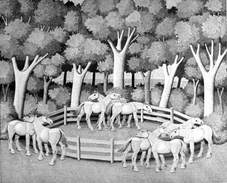木版 Morena - Cavalli nel bosco