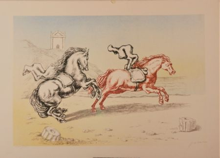 リトグラフ De Chirico - Cavalli sulla riva dell'Egeo