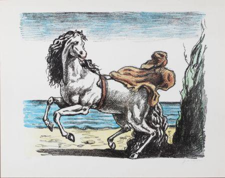 リトグラフ De Chirico - Cavallo con manto