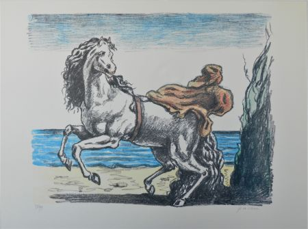 リトグラフ De Chirico - Cavallo con manto (seconda versione)