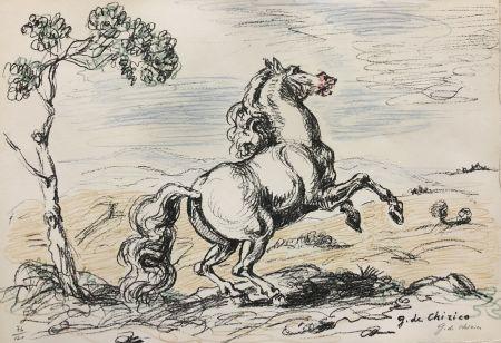 リトグラフ De Chirico - Cavallo in libertà