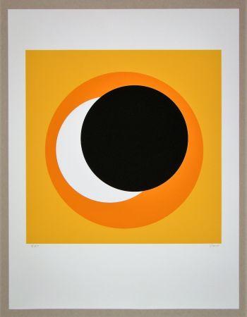 シルクスクリーン Claisse - Cercle noir sur fond orange