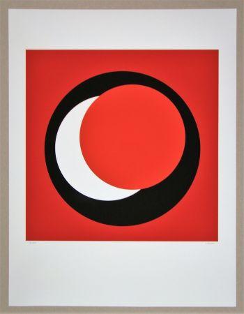 シルクスクリーン Claisse - Cercle rouge sur fond rouge foncé