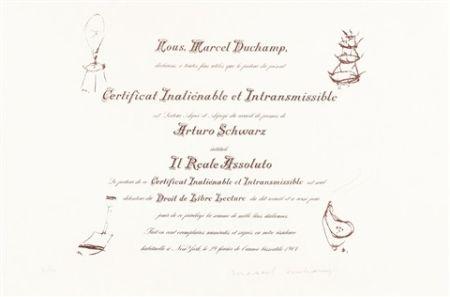 リトグラフ Duchamp - Certificat de Lecture