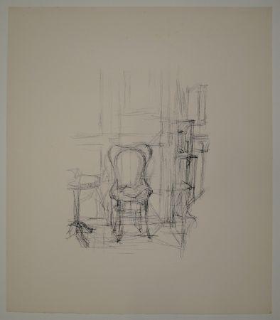 リトグラフ Giacometti - Chaise et guéridon.