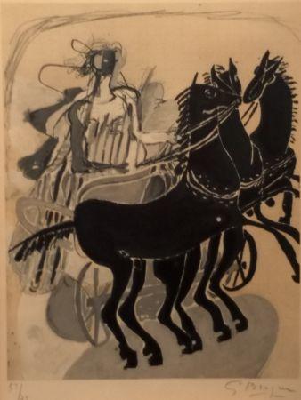 リトグラフ Braque - CHAR AUX CHEVAUX NOIR