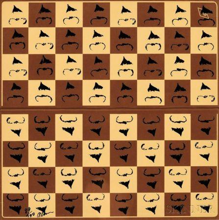 シルクスクリーン Arman - Chessboard in Hommage to Marcel Duchamp's L.H.O.O.Q.