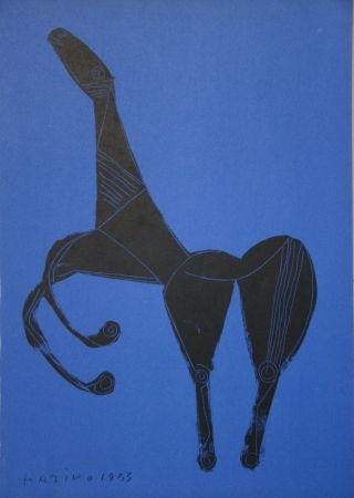 リトグラフ Marini - Cheval sur fond bleue