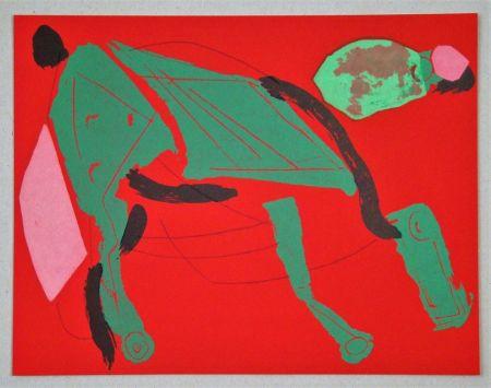 リトグラフ Marini - Cheval sur fond rouge