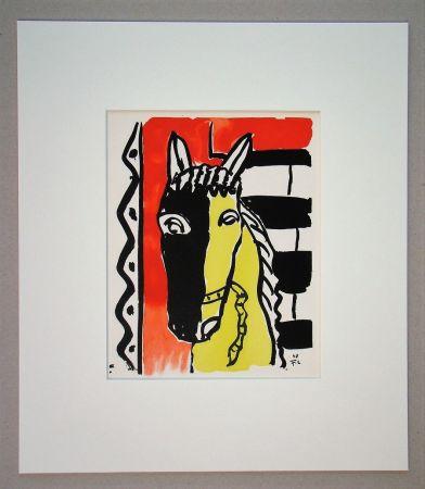ステンシル Léger (After) - Cheval sur fond rouge, 1948