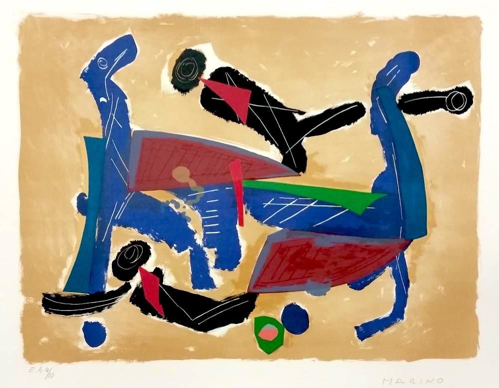リトグラフ Marini - Chevaux et cavaliers
